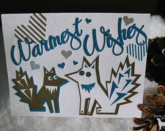 Letterpress Holiday Greeting Card Set - Foxy Warmest Wishes (set of 6)