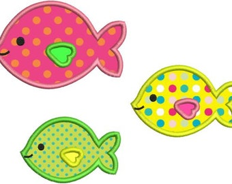 Cute Applique Fish Group Machine Embroidery Designs 4x4 & 5x7 Instant Download Sale