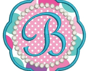 Applique Girly Monogram Fonts Machine Embroidery Designs - 4x4 Hoop Instant Download Sale