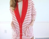 First Mate Vintage 80s LS Red and White Striped Jersey Knit Cardigan MEDIUM M