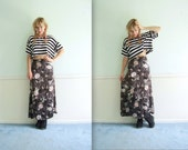 Floral Rose Maxi Skirt - VIntage 90s - High Waist - XS S