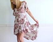 90s Rose Floral Print Slinky FLUTTER Sleeve Hi Low Hem Gypsy Dress SMALL Medium S M