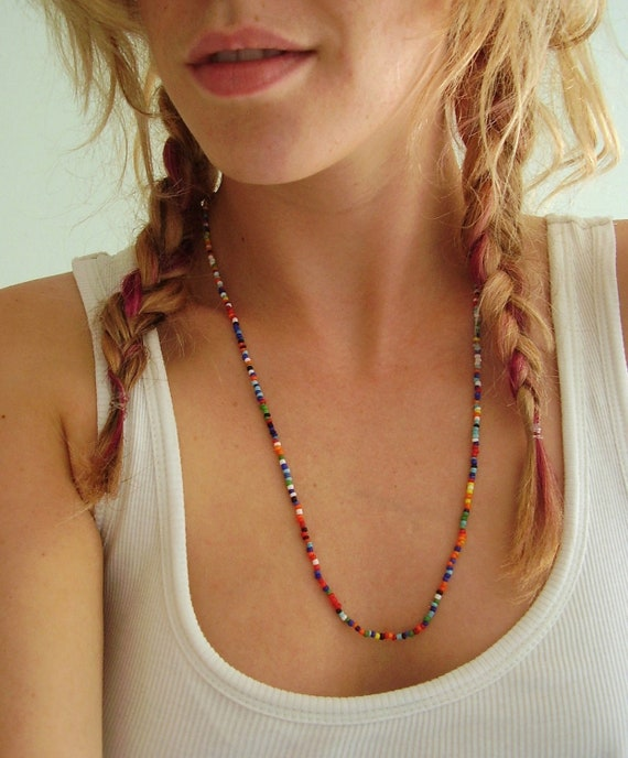 Native American Seed Bead Love Beads Necklace Layering - Vintage 80s 90s