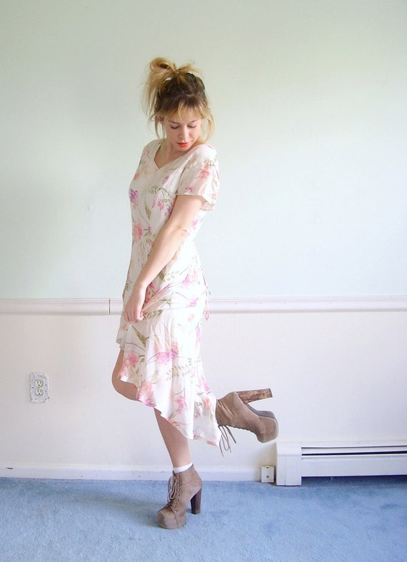 Cameo Floral Vintage Early 90s Reconstructed SS Hi Low Hem Corset Tie Spring Sun Dress SMALL S
