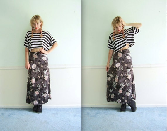 Floral Rose Maxi Skirt - VIntage 90s - High Waist - XS S