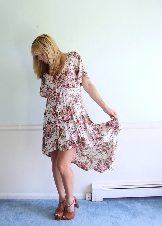 90s Rose Floral Print Slinky FLUTTER Sleeve Hi Low Hem Gypsy Dress SMALL Medium S M