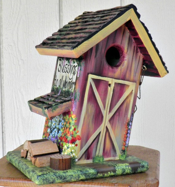 "Wood Barn Bird House, Hand Made, Hand Painted, Slanted with a Sign that says ""Blessings to all who enter"" Made in Oregon , USA"