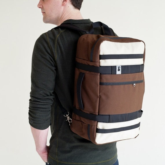 On Luggage Backpack Duffel Brown and Beige