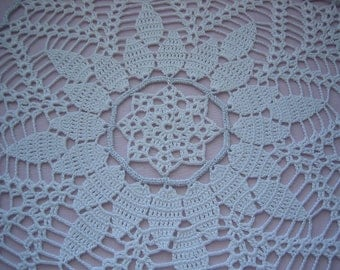 Hand crochet doily for Noel new, white, silver trimmed
