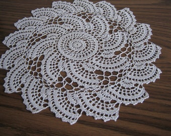 Hand crochet pearl color whirl designed , Polyester thread art doily, new
