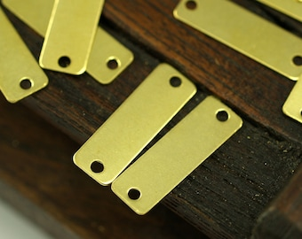 50 Raw Brass Rectangle Connector 2 Holes (19x6 Mm) Brs 612 ( A0307 )
