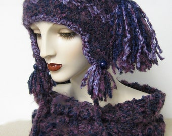Peruvian Inspired Folk Art Hat and Scarf Set/ Purple and Blue