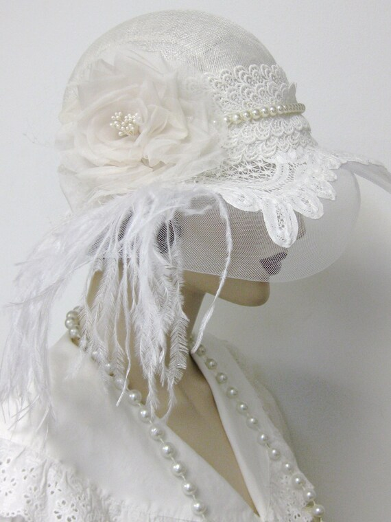1920's Flapper Wedding Cloche/Reserved for Laura