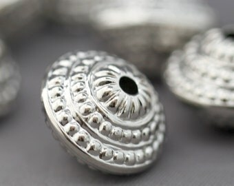 Acrylic Silver Saucer Beads Etched Ornate 17mm (10)