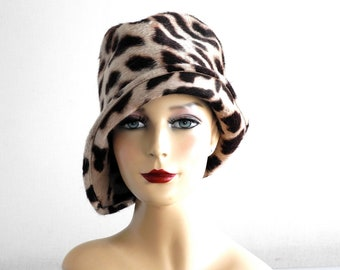 Zebra Print Cloche Hat- Women- Spring Fashion- Jungle Print- Fall Fashion- Winter Accessories- Animal Print