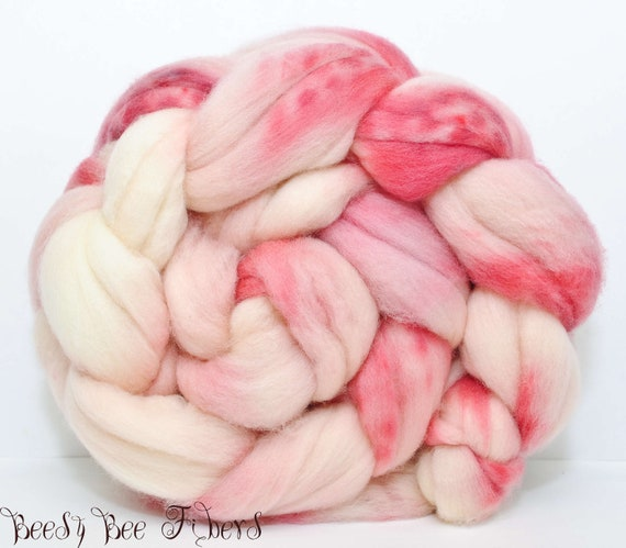Hand Painted Roving Combed Top Superwash Merino Lambswool - 4.1 oz - CANDY