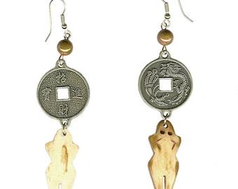 Bone or black horn Goddess Chinese coin earrings