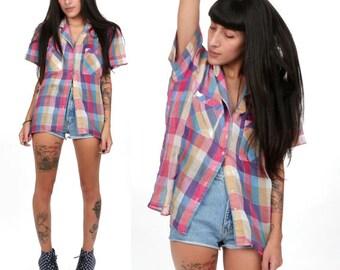 80's Paper Thin Plaid FLANNEL Shirt S/M Super Soft Boyfriend Button Down Preppy Western Shirt