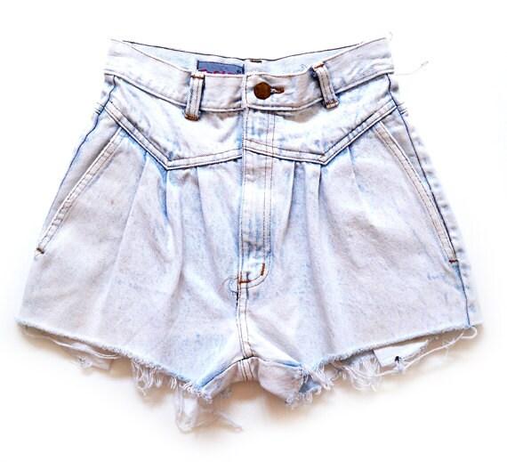 90's Acid Wash Denim Cutoff Shorts XXS/XS Ultra High Waist Cutoffs