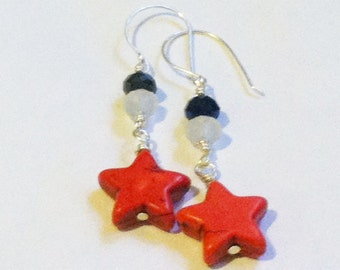 Blue & White Frost Crystals with Red Magnesite Stars