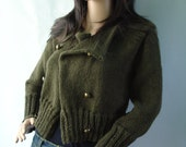 Ready to ship - Twilight - Breaking Dawn - inspired army green bolero cardigan in military look - Size M/L
