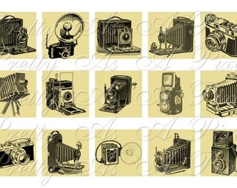 Vintage Cameras - 2 sizes - Inchies AND scrabble size .75 x .83 inch - 4x6 inch sheet - Sampler - Digital Collage Sheet - INSTANT DOWNLOAD