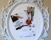 ADORABLE WHITE Large Ornate Framed Wedding Seating Chart-Memo Board-Chalkboard-Cork Board-Signage-Menu Board-Magnet Board-Baby-Nursery