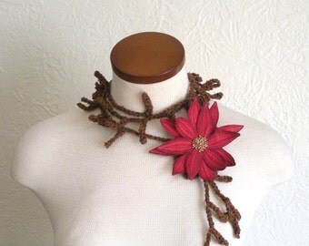 Amaranth Pink Lotus Flower with Sienna Lariat Scarf-  Fiber Art Scarf- Embroidered Silk Flower Lily Clip with Crochet Scarflette