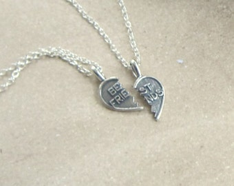 Best Friends Necklaces, Gifts for her, Bridesmaids Gift, Maid of Honor, Birthday, Gift for friend, Special Gift,  Sterling Silver Pair