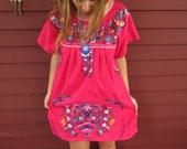 Magenta Boho Mexican Sunshine Oaxaca Embroidered Babydoll Mini Dress with Crochet Size Medium/Large