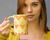 Chevron ceramic mug Geometric series hand built mug in yellow orange white tribal pattern