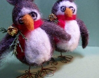 Owl Felted Wool Ornament