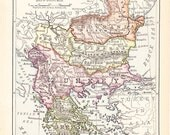 1900 Map Turkey in Europe - Balkan States - Vintage Antique Map Great for Framing 100 Years Old