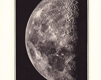 1917 Photograph - First Quarter Moon - Vintage Antique Home Decor Book Plate Art for Framing 100 Years Old