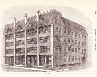 1886 Architecture Print - Building - Vintage Antique Art Illustration Interior Design Great for Framing 100 Years Old