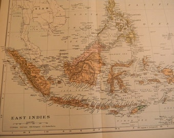 1903 Map East India Islands - Vintage Antique Map Great for Framing 100 Years Old