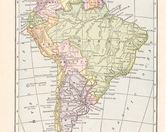 1909 Map South America - Vintage Antique Map Great for Framing 100 Years Old