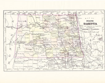 1897 State Map North Dakota - Vintage Antique Map Great for Framing 100 Years Old