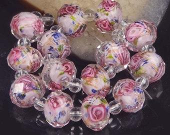 Czech Glass Faceted Rondelle Beads - Encased Rose Flower 12x8mm (14 pc) (e6437)