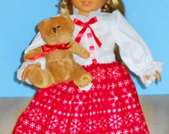American Girl Doll - Red and White Winter Flannel Nightgown - 18 Inch Doll Clothes