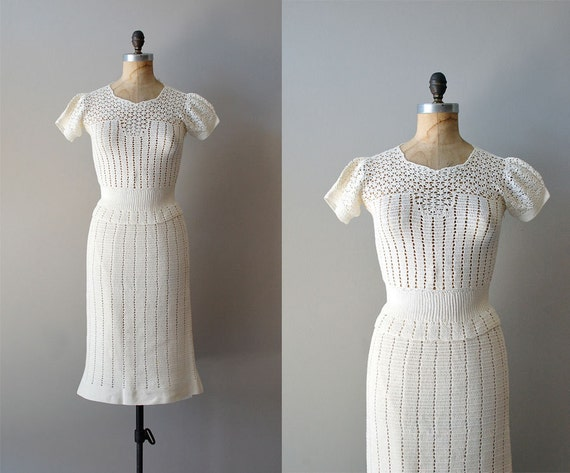 crochet dress / 1930s sweater dress / Chalklands dress