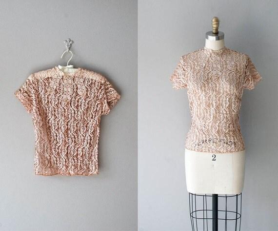 1940s blouse / lace blouse / blush lace / Cachet 40s blouse