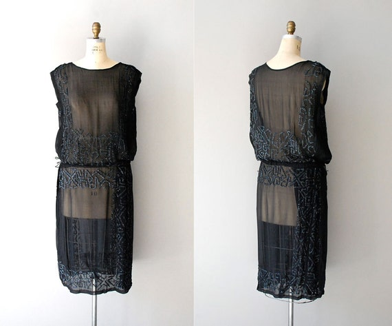 1920s dress / silk beaded 20s dress / Pandora's Box