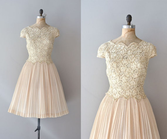1950s dress / cream lace 50s dress / Promise Me This