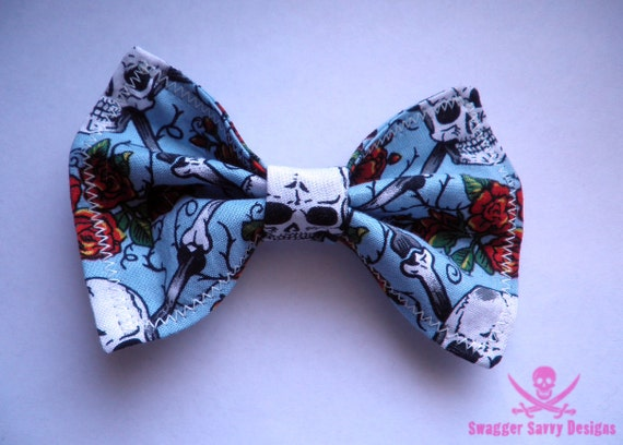 Blue Skulls and Roses Large Hair Bow with Glow in the Dark Stitching