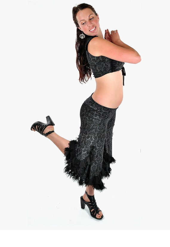 Swan Capri Pants - Black and Grey - Tribal Fusion Belly Dance