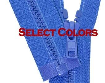 "30""  Ykk Jacket Zippers WHOLESALE- 30 inch Vislon Jacket Zipper YKK 5 Molded Plastic Medium Weight - Separating - Select Color"