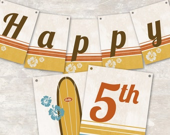 """PRINT & SHIP Vintage Surf Party Pennant Banner (""""Happy 1st Birthday"""") >> personalized and shipped to you << Paper and Cake"""