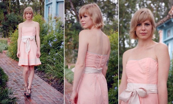 Keri Cotton Strapless Sweetheart Peach Bridesmaid Dress with Dusty Blue Border Trim, Piping and Pleated Skirt - Custom Sizes and Colors