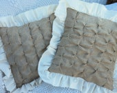 """Burlap Pillow Burlap Decor TWO 16"""" x 16"""" Square Pillow Covers-Sweet Burlap with French Style Smocking and Muslin Ruffles"""